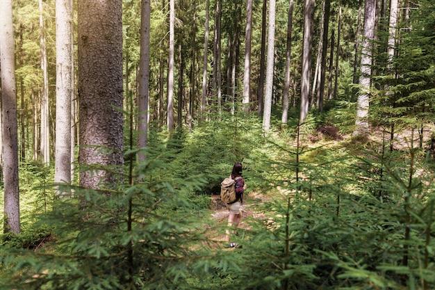 La giovane donna cammina con lo zaino in spalla nella foresta. concetto di stile di vita attivo e sano
