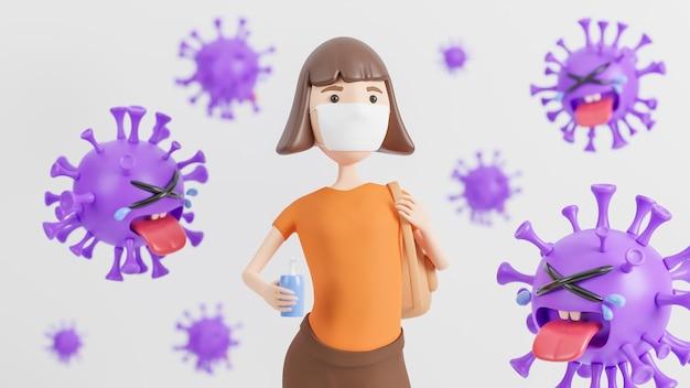 Una giovane donna che indossa una maschera medica e tiene in mano un gel alcolico lavato a mano circondata da simpatici personaggi viola del coronavirus che piangono su bianco