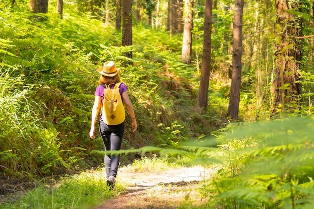 Una giovane donna con un cappello che cammina con uno zaino giallo attraverso i pini della foresta