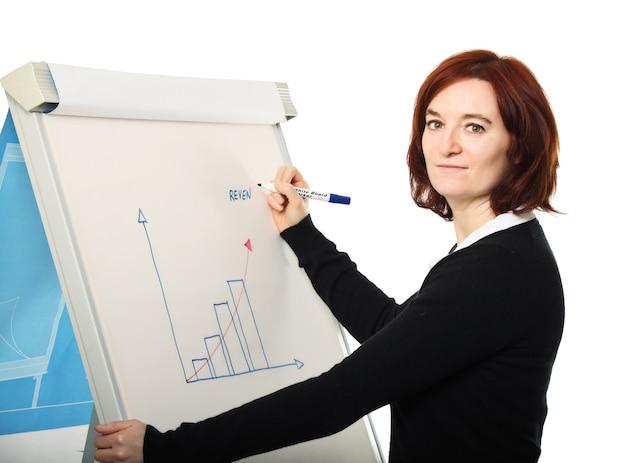 Giovane donna al lavoro con bordo e migliorare il grafico