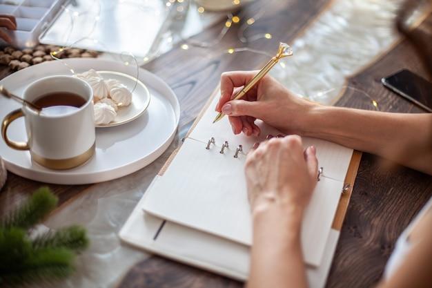 Giovane donna che scrive piani o obiettivi per il nuovo anno mentre sua figlia crea alberi di natale