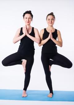 Giovani donne che fanno yoga asana posa dell'albero