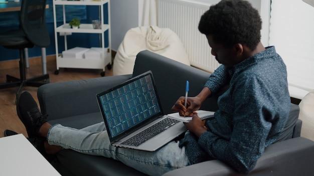Youngan analizzando il trading di mercati azionari in criptovalute, controllando l'indice ticker azionario, decidendo di acquistare o vendere moneta digitale