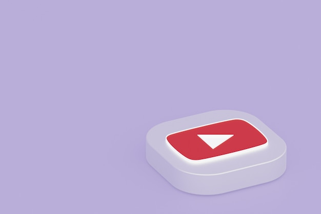 Rendering 3d del logo dell'applicazione youtube su sfondo viola