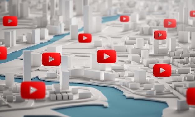 Icona di youtube sopra la vista aerea della rappresentazione degli edifici 3d della città