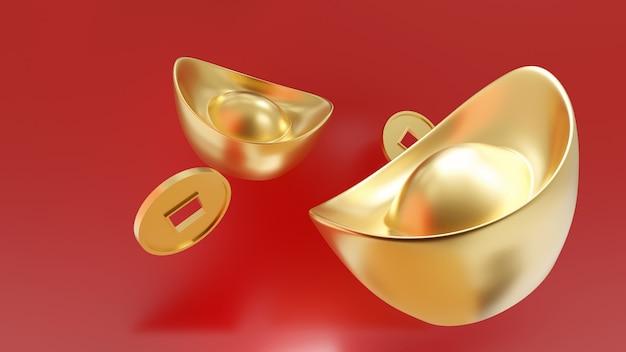 Yuan bao. sycee e moneta cinesi dell'oro isolati su rosso
