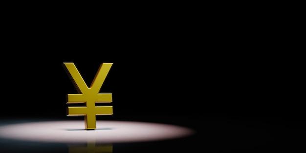 Yuan o yen simbolo di valuta sotto i riflettori isolato
