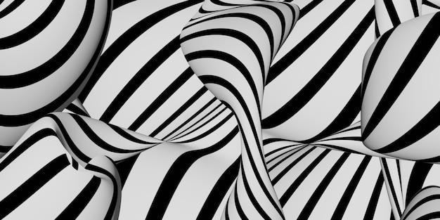 Zebra onde astratte increspatura immagine di sfondo 3d illustrazione