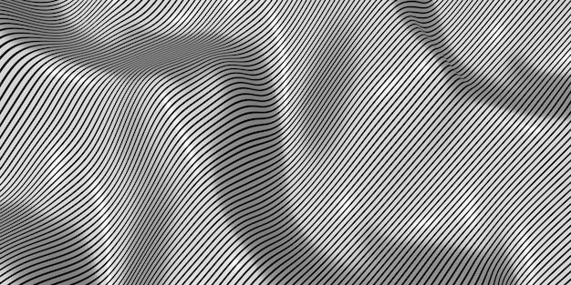 Illustrazione 3d del fondo dell'onda d'ondeggiamento del modello della zebra