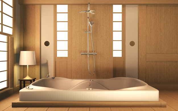 Bagno e design in legno design zen in legno - stile giapponese. rendering 3d