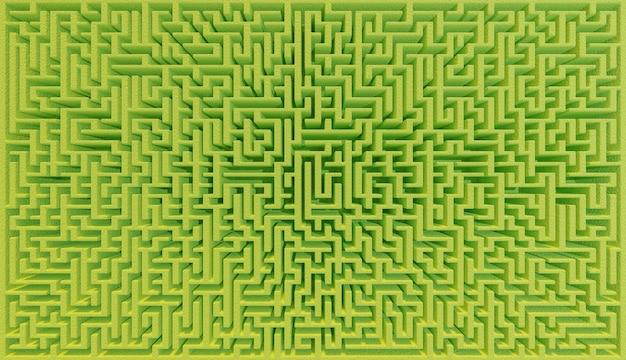 Vista zenitale di un labirinto di cespugli verdi molto grande con effetto grandangolare. illustrazione 3d