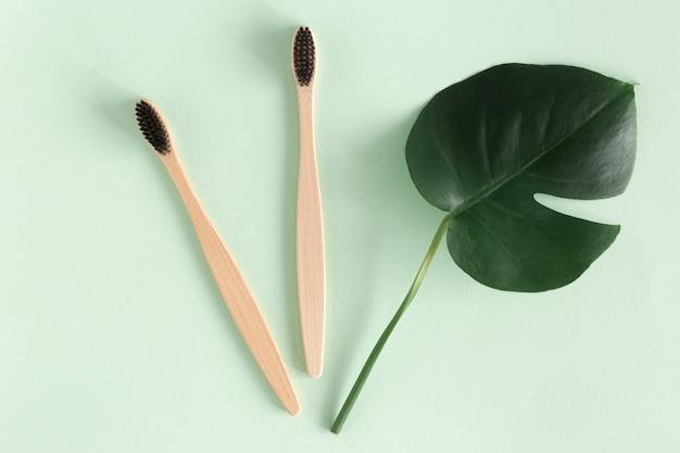 Concetto di rifiuti zero. lo spazzolino da denti naturale del bambù di eco di vista superiore con i mostri va su fondo verde