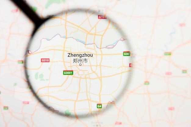 Zhengzhou, concetto illustrativo di visualizzazione della città della cina sullo schermo di visualizzazione tramite la lente d'ingrandimento