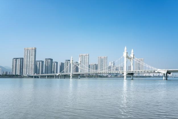 Zhuhai city scenery and coastline baishi bridge landscape