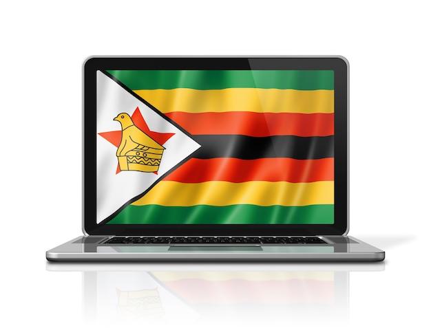 Bandiera dello zimbabwe sullo schermo del laptop isolato su bianco. rendering di illustrazione 3d.