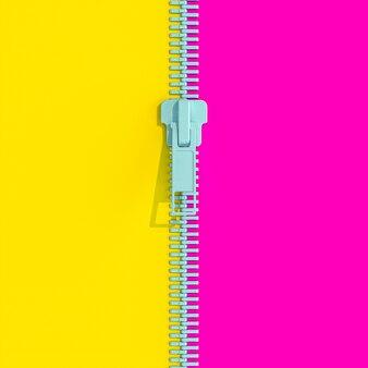 Zip con fondo bicolore in stile flat lay.