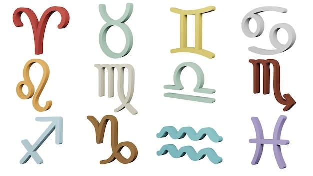 Il simbolo dello zodiaco firma il rendering 3d