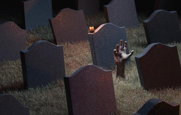 Mano di zombie che esce dal terreno in un cimitero pieno di lapidi. rendering 3d