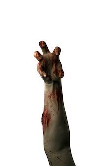 Mani di zombie con ferita isolate su sfondo bianco