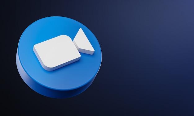 Icona 3d del pulsante del cerchio dello zoom con lo spazio della copia