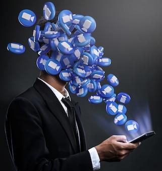 Icone dello zoom che spuntano sul viso di un uomo