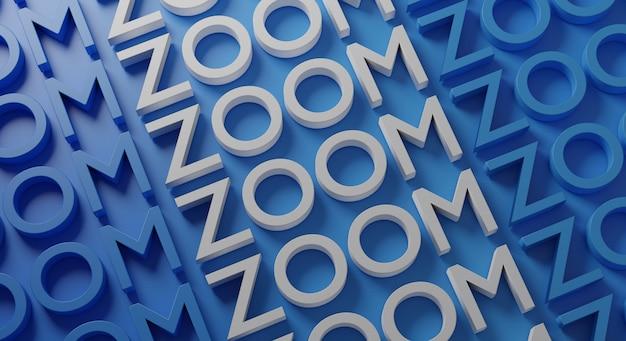 Zoom tipografia multipla su parete blu, rendering 3d