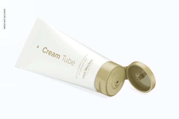 Mockup di tubo crema da 0,5 once, vista isometrica a sinistra