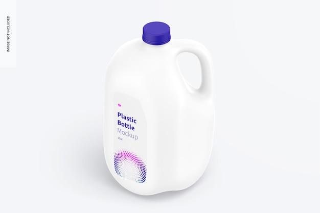 Mockup di bottiglia di plastica da 1 gallone, vista isometrica