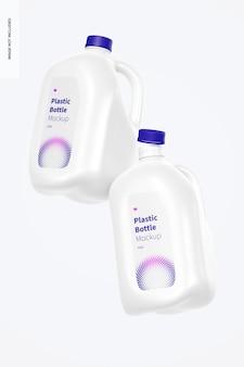 Mockup di bottiglie di plastica da 1 gallone, galleggiante