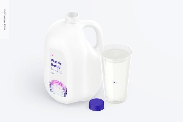 Bottiglie di plastica da 1 gallone con mockup di tazza, vista isometrica