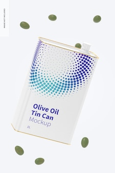 Mockup di latta rettangolare di olio d'oliva da 1 litro, galleggiante
