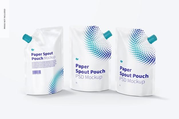 Mockup di sacchetti per beccuccio di carta da 1 litro