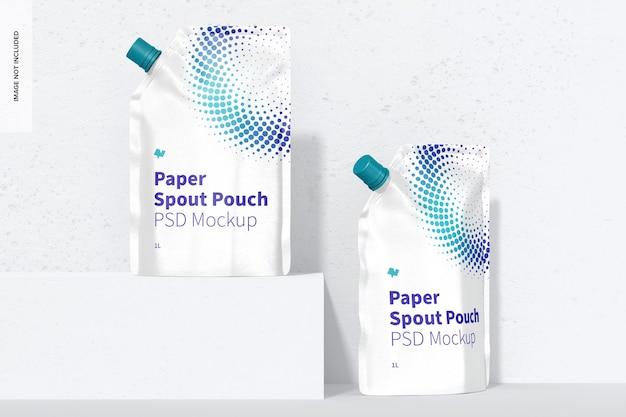 Mockup di sacchetti per beccuccio di carta da 1 litro, vista frontale