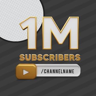 1 milione di abbonati d'oro testo con rendering 3d del nome del canale