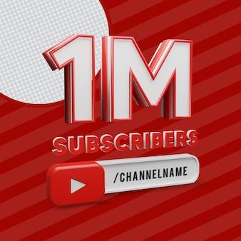 1 milione di abbonati con rendering 3d del nome del canale