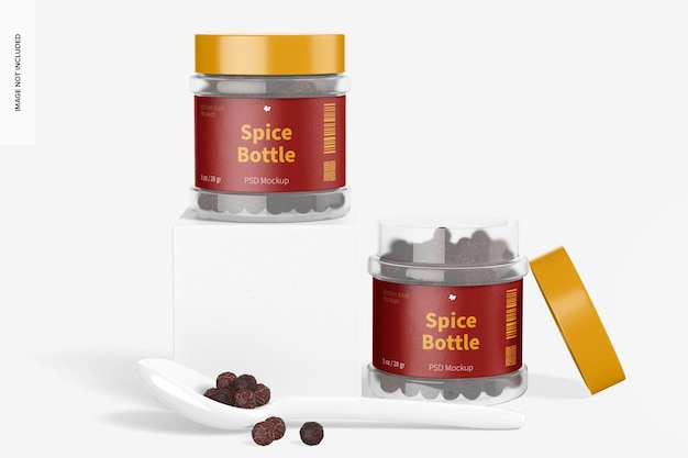 Mockup di bottiglie di spezie in pet trasparente da 1 oz