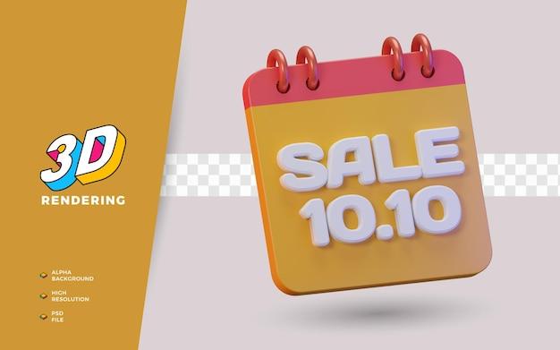 10.10 giorno dello shopping sconto vendita promozione oggetto di rendering 3d