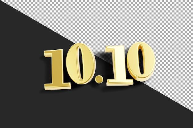 10 10 con rendering 3d color oro isolato