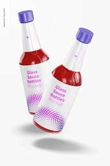 Mockup di bottiglie di salsa di vetro da 10 once