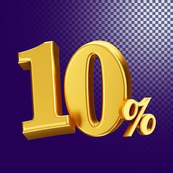 10 percento di sconto sullo stile di testo 3d rendering concetto isolato