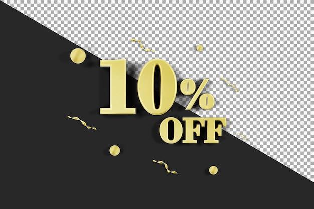 10% di sconto con rendering 3d color oro isolato