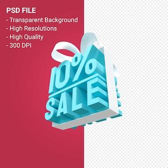 10 percento di vendita con fiocco e nastro 3d design isolato