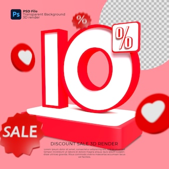 10 percentuale 3d render colori rossi con elementi