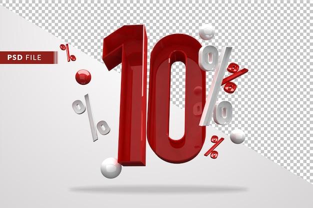 10 percentuale di segno di percentuale 3d numero rosso, modello di file psd