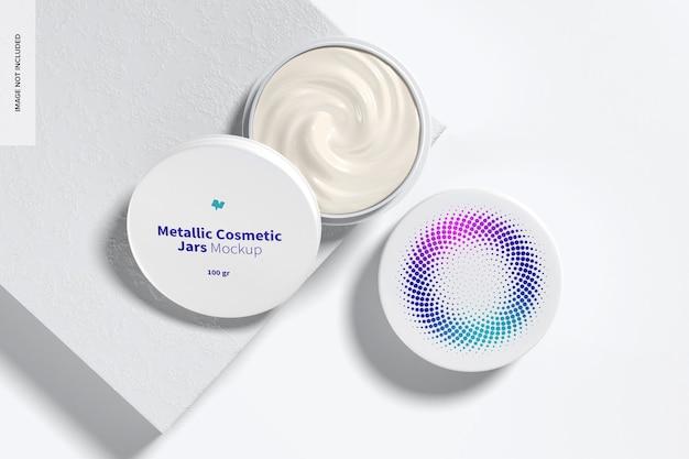Mockup di barattoli cosmetici metallici da 100 g, aperto e chiuso