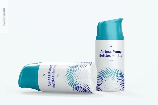 Mockup di bottiglie per pompa airless da 100 ml, caduto