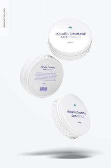 Mockup di barattoli cosmetici metallici da 100 g, galleggiante