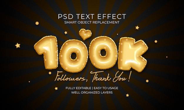 100k segue effetto testo