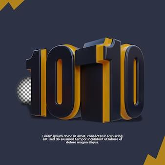 Modello di banner 1010 con illustrazione di rendering 3d