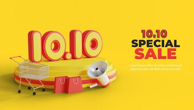 Banner promozionale di vendita speciale 1010 con podio